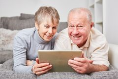 Senior couple learning about PC Stock Photography