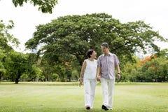 Senior Couple Leisure Outside Concept. Senior Couple Leisure Outdoor Walking Royalty Free Stock Photos