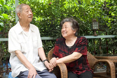 A senior couple look at each other lovely. A happy senior old couple Royalty Free Stock Photo