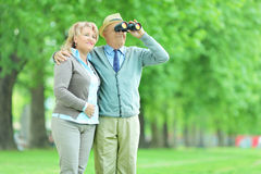 Senior couple looking through binoculars in park Stock Photography