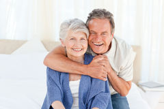 Senior couple looking at the camera Stock Image
