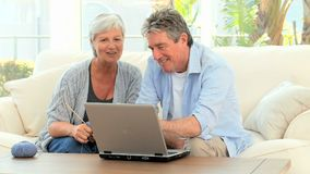 Senior couple looking at a computer stock video