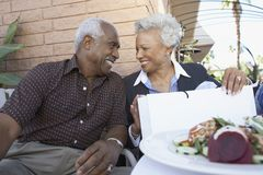 Senior Couple Looking At Each Other stock photos