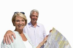 senior couple looking at road map, cut out Stock Photography