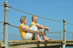 Senior couple looking a sea Royalty Free Stock Photo
