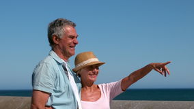 Senior couple looking at something from the pier. In slow motion stock footage