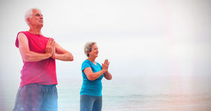 Senior couple in lotus position on the beach Royalty Free Stock Images