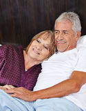 Senior couple in love in bed Royalty Free Stock Photos