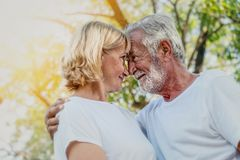 Senior couple in love. Senior couple having good time in love together in park stock photos