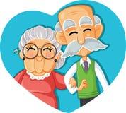 Senior Couple in Love Vector Cartoon Illustration. Grandma and grandpa celebrating long-term relationship Royalty Free Stock Photos