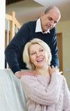 Senior couple making a back massage Stock Photography