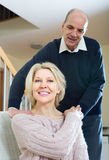 Senior couple making a back massage Royalty Free Stock Image