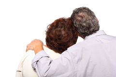 Senior couple, man hug woman Stock Image