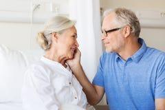 Senior couple meeting at hospital ward Royalty Free Stock Image
