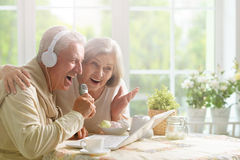 Senior couple  and microphone and laptop Royalty Free Stock Images
