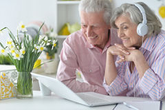 Senior couple  and microphone and laptop Stock Image