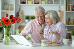 Senior couple  and microphone and laptop. Portrait  of Senior couple  and microphone and laptop Stock Photo
