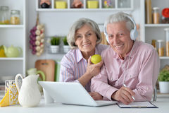 Senior couple  and microphone and laptop. Portrait  of Senior couple  and microphone and laptop Royalty Free Stock Photos