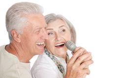 Senior couple with microphone Stock Image