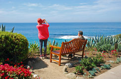 Senior couple at Montage, Laguna Beach, California. Stock Photos