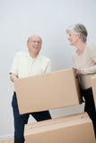 Senior couple moving house stock photo