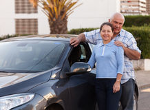 Senior couple near  car. Royalty Free Stock Photo