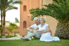 Senior couple near hotel resort. Senior couple have fun near  hotel resort Royalty Free Stock Image
