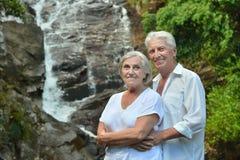 Senior couple near hotel resort Royalty Free Stock Photos