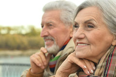 Senior couple near river Royalty Free Stock Images
