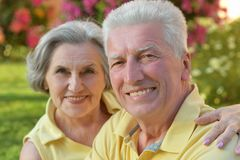 Senior couple outdoor in summer park Stock Images