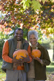 Senior couple outdoors holding pumpkins in autumn Stock Photos