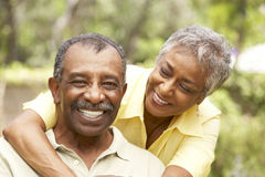 Senior Couple Outdoors Hugging Royalty Free Stock Photos