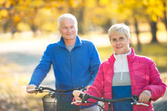 Senior couple outdoors Stock Images