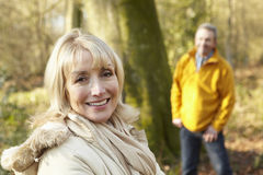 Senior couple outdoors in winter Stock Image