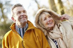 Senior couple outdoors in winter Royalty Free Stock Photo