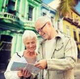 Senior couple over latin american city street Royalty Free Stock Photography