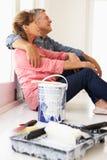 Senior couple painting house Stock Photos