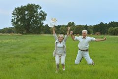 Senior couple at park Stock Photography