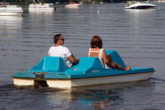 Senior couple on pedalo also called pedal boat Stock Image