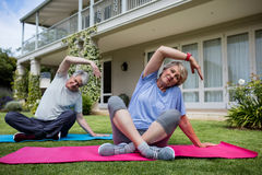Senior couple performing stretching exercise on exercise mat. In lawn Stock Images