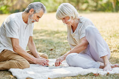 Senior couple playing a board game. Senior couple sitting relaxed in the garden playing a board game Stock Photography