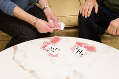 Senior couple playing cards Royalty Free Stock Image