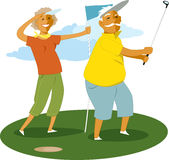 Senior couple playing golf vector illustration