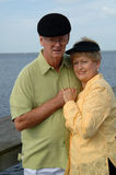 Senior couple portrait. A senior couple outdoors holding hands standing on a boardwalk stock images