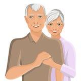 Senior couple portrait. Old senior people family couple half-length portrait vector illustration Royalty Free Stock Photography