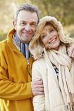 Senior couple portrait outdoors in winter Royalty Free Stock Photos