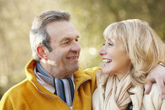 Senior couple portrait outdoors in winter Stock Images