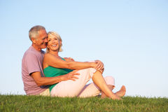 Senior couple posing on a field Royalty Free Stock Photos