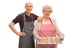 Senior couple posing with homemade cookies Royalty Free Stock Photos
