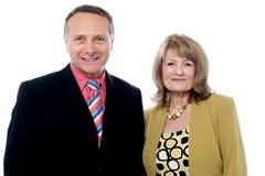 Senior couple posing over white background Royalty Free Stock Photos